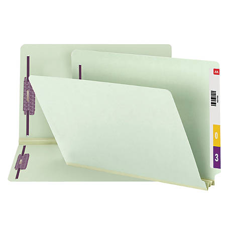 "Smead® Pressboard End-Tab Folders With Fastener, Straight Cut, 2"" Expansion, Legal Size, 60% Recycled, Gray/Green, Pack Of 25"