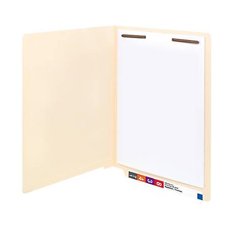 Smead® Reinforced End-Tab Folders, 1 Fastener, Straight Cut, Letter Size, Manila, Box Of 50