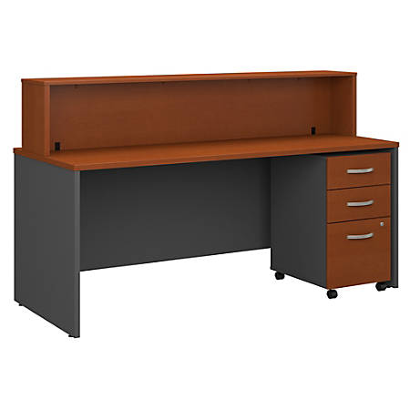 "Bush Business Furniture Components 72""W x 30""D Reception Desk With Mobile File Cabinet, Auburn Maple/Graphite Gray, Standard Delivery"
