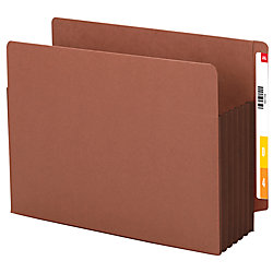 "Smead® Extra-Wide Redrope End-Tab File Pocket With Dark Brown Tyvek® Gusset, Extra-Wide Letter Size, 5 1/4"" Expansion, 30% Recycled"