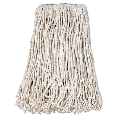 Boardwalk® Banded Cotton Mop Heads, #24, White, Pack Of 12