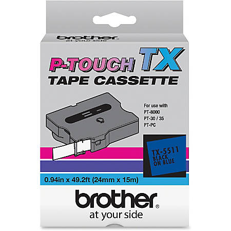 """Brother Tape(s) - 1"""" Width x 50 ft Length - Direct Thermal - Black, Blue - 1 Each"""