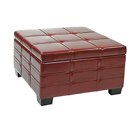 Office Star™ Ave Six® Bonded Leather Detour Strap Storage Ottoman, Crimson Red