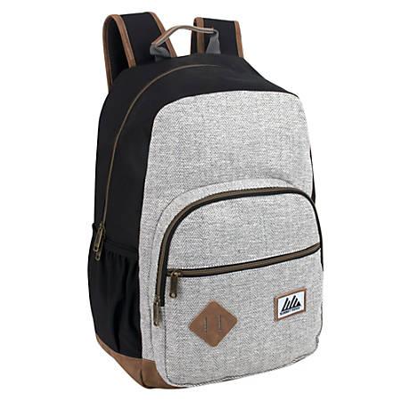 "Summit Ridge Herringbone Super Deluxe Backpack With 17"" Laptop Pocket, Gray"