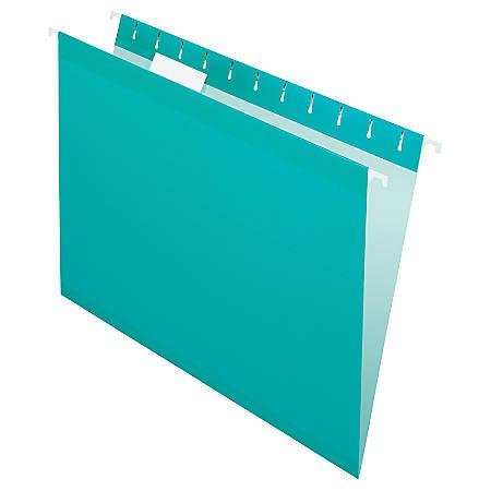 Pendaflex® Premium Reinforced Color Hanging Folders, Letter Size, Aqua, Pack Of 25