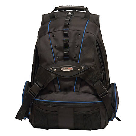 "Mobile Edge Premium Backpack With 17.3"" Laptop Pocket, Black/Navy Blue, MEBPP3"