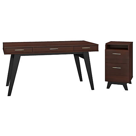 """kathy ireland® Office by Bush Business Furniture Centura 60""""W Writing Desk With 2 Drawer File Cabinet, Century Walnut, Standard Delivery"""