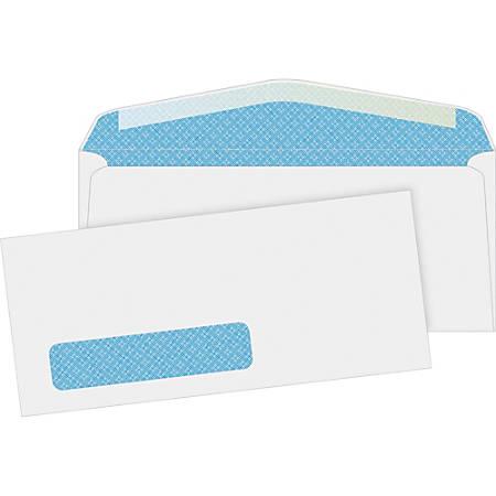 "Business Source No. 10 Tinted Diagonal Seam Window Envelopes - Security - #10 - 9 1/2"" Width x 4 1/8"" Length - 24 lb - Gummed - Wove - 500 / Box - White"