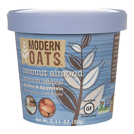 Modern Oats Premium Oatmeal Cups, Coconut Almond, 2.11 Oz, Pack Of 12 Cups