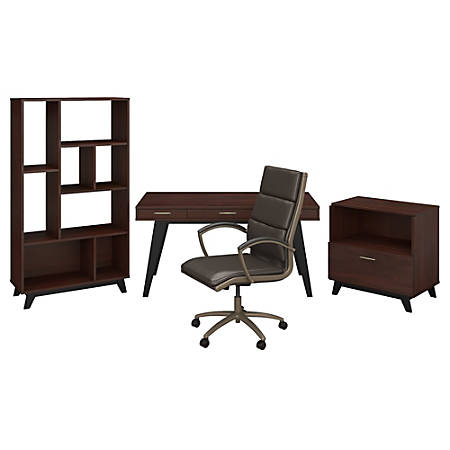 """kathy ireland® Office by Bush Business Furniture Centura 60""""W Writing Desk With Lateral File Cabinet, Bookcase And High-Back Leather Office Chair, Century Walnut, Standard Delivery"""