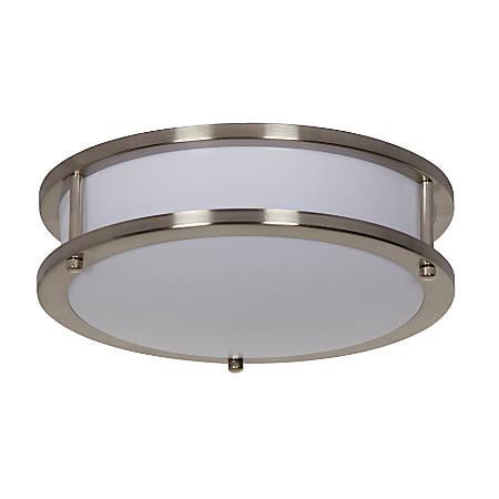 "Luminance LED Round Flush Ceiling Mount Fixture, 10"", 13 Watts, 4000K/Cool White, 1300 Lumen, Satin Nickel/Alabaster Glass"