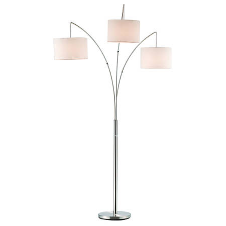 "Adesso® Trinity Arc Floor Lamp, 82""H, White Shade/Steel Base"