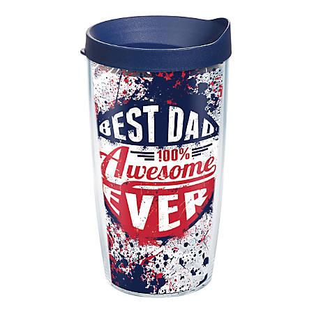 Tervis Best Dad Ever Tumbler With Lid, Splatter Design, 16 Oz, Clear