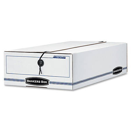 "Bankers Box® Liberty® 65% Recycled Corrugated Storage Boxes, 4 1/4"" x 9 1/4"" x 15"", White/Blue, Case Of 12"