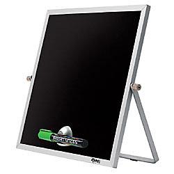 "EXPO® Bright Stik® Magnetic Wet-Erase Board, 10"" x 10"", Black Board, Silver Frame"