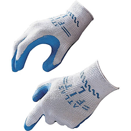 Showa Atlas Fit General Purpose Gloves - Medium Size - Natural Rubber - Blue, Gray - Comfortable, Lightweight, Knit Wrist, Durable, Debris Resistant - 24 / Box