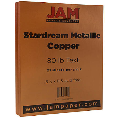 JAM Paper® Printer Paper, Letter Size, 80 Lb, Copper Metallic, Pack Of 25