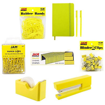 JAM Paper® Complete 9-Piece Desk Kit, Yellow