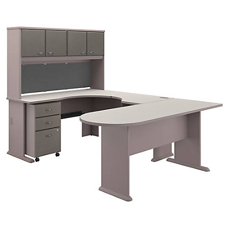 Bush Business Furniture Office Advantage U Shaped Corner Desk With Hutch And Mobile File Cabinet, Pewter/White Spectrum, Standard Delivery