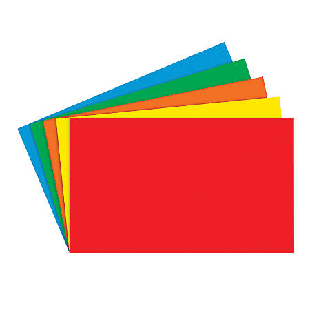 """Top Notch Teacher Products® Bright Blank Primary Index Cards, 3"""" x 5"""", Assorted Colors, 100 Cards Per Pack, Case Of 10 Packs"""
