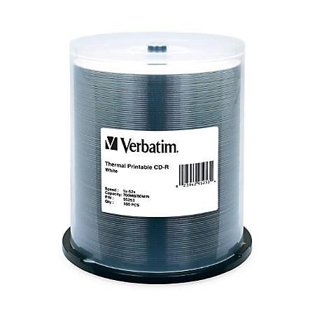 Verbatim CD-R 700MB 52X White Thermal Printable - 100pk Spindle - 700MB - 100 Pack