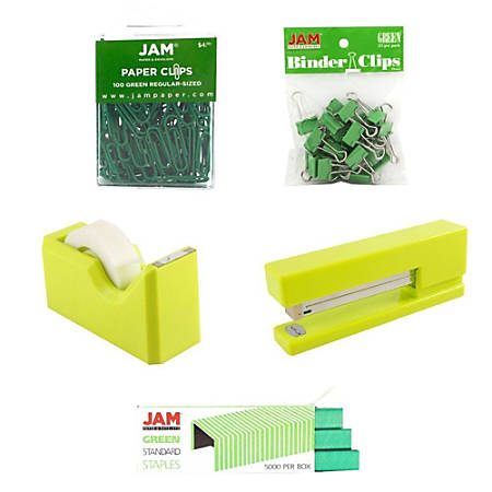 JAM Paper® 5-Piece Office Starter Kit, Green
