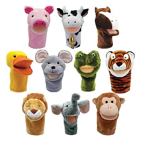 "Get Ready Kids PlushPups Hand Puppets, 6 1/2""H x 15 3/8""W x 20 1/8""D, Grades Pre-K - 3, Pack Of 10"