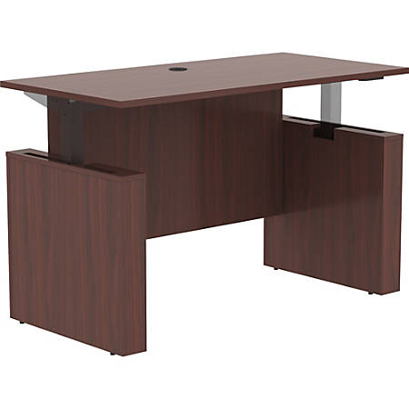 "Lorell Essentials 60"" Sit-to-Stand Desk Shell - 0.1"" Top, 1"" Edge, 60"" x 29"" x 49"" - Material: Polyvinyl Chloride (PVC) Edge - Finish: Mahogany Laminate Top, Mahogany"