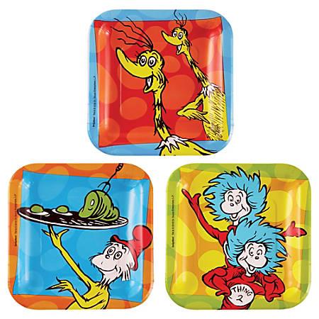"Amscan Dr. Seuss 7"" Square Paper Plates, Multicolor, 8 Plates Per Pack, Set Of 4 Packs"