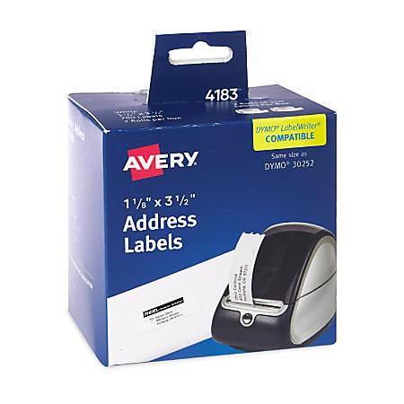 "Avery® Thermal Address Labels, 4183, 1-1/8"" x 3-1/2"", White Matte, Pack Of 700 Labels"