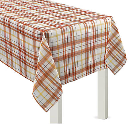 """Amscan Fall Harvest Fabric Table Cover, 60"""" x 84"""", Plaid"""