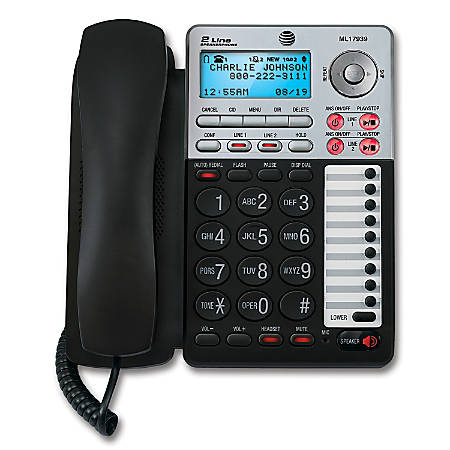 AT&T ML17939 2-Line Corded Phone with Speakerphone & Digital Answering System, Black