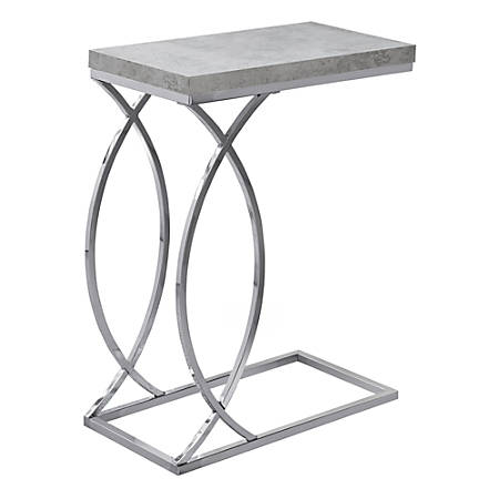 Monarch Specialties Side Accent Table, Rectangular, Gray Cement/Chrome