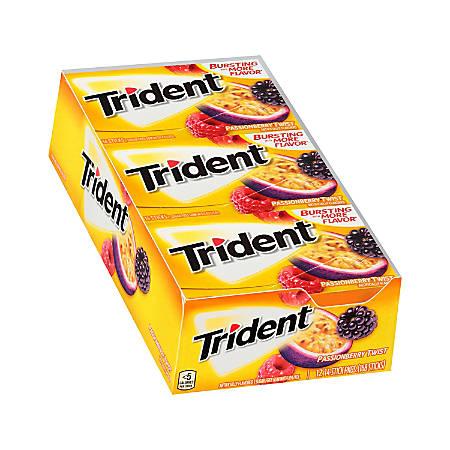 Trident® Sugar-Free Passion Berry Twist Gum, 14 Pieces Per Pack, Bag Of 12 Packs