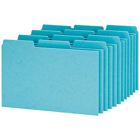 """Oxford® Blank Pressboard Guides, 1/3 Cut, 4"""" x 6"""", 65% Recycled, Blue, Box Of 100"""