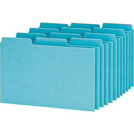 """Oxford® Blank Pressboard Guides, 1/3 Cut, 5"""" x 8"""", 65% Recycled, Blue, Box Of 100"""