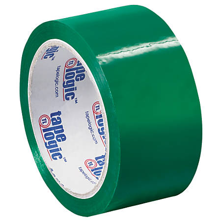 "Tape Logic® Carton-Sealing Tape, 3"" Core, 2"" x 55 Yd., Green, Pack Of 6"