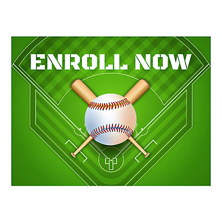 Plastic Sign, Enroll Now For Baseball, Horizontal