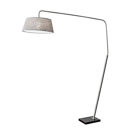 "Adesso® Ludlow Arc Lamp, 85""H, Gray Shade/Black Base"