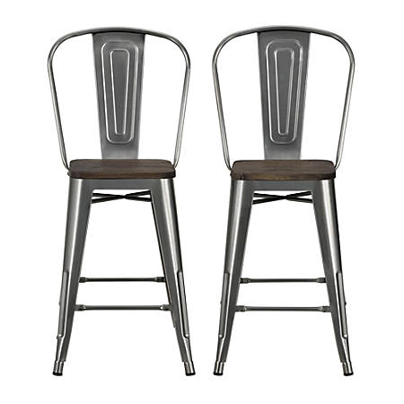 Dhp Luxor Metal Counter Stool Charcoal Set Of 2 Office Depot