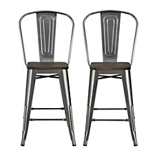 DHP Luxor Metal Counter Stool Charcoal
