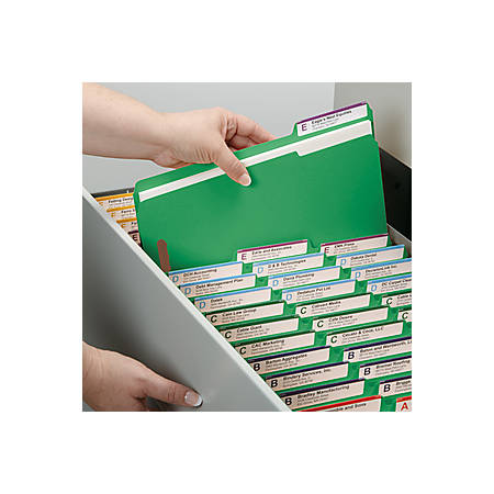 "Smead WaterShed®CutLess® Fastener Folders - Letter - 8 1/2"" x 11"" Sheet Size - 2 x 2K Fastener(s) - 1/3 Tab Cut - Assorted Position Tab Location - 11 pt. Folder Thickness - Green - Recycled - 50 / Box"