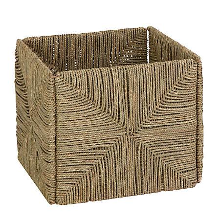 "Honey-Can-Do Woven Folding Seagrass Basket, 11 1/2""L x 10 5/8""W x 10 5/8""H, Brown"
