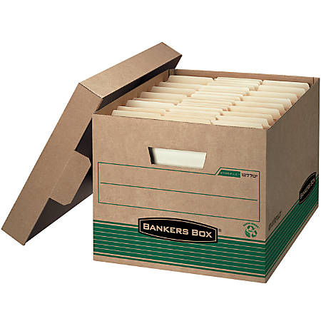 """Bankers Box® Earth Series™ STOR/FILE™ 100% Recycled Kraft Storage Box, Extra-Strength, Locking Lift-Off Lid, 15"""" x 12"""" x 10"""", Letter/Legal"""