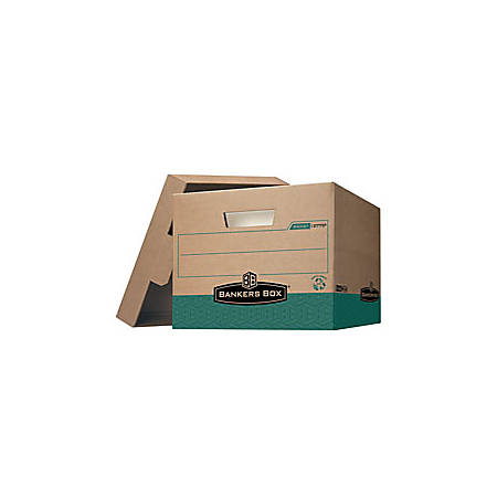 "Bankers Box® R-Kive® Storage Boxes, Heavy-Duty, FastFold®, Lift-Off Lid, Letter/Legal, 15"" x 12"" x 10"", 100% Recycled, Kraft/Green"