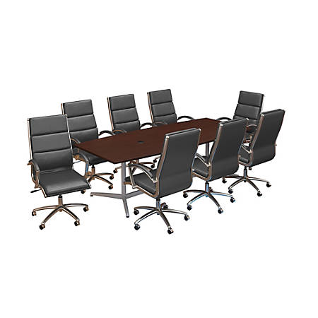 "Bush Business Furniture 96""W x 42""D Boat-Shaped Conference Table With Metal Base And Set Of 8 High-Back Office Chairs, Harvest Cherry, Premium Installation"