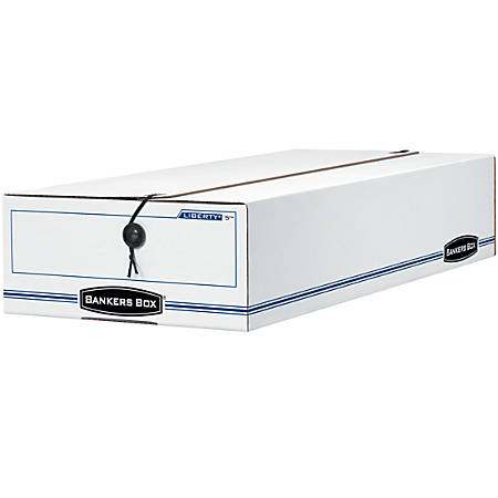 """Bankers Box® Liberty® Storage Box With String & Button Closure, Check, 23 1/4"""" x 9 1/2"""" x 4 1/4"""", 60% Recycled, White/Blue"""