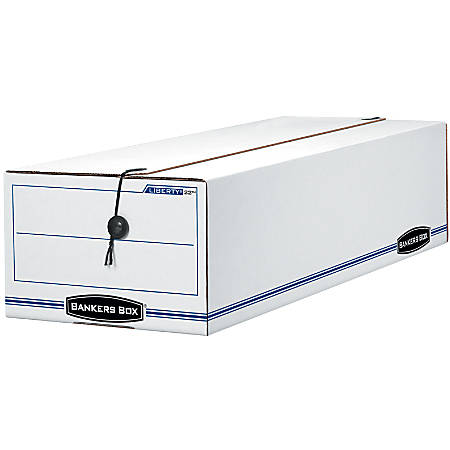 """Bankers Box® Liberty® Storage Box With String & Button Closure, Records, 23 1/4"""" x 9 1/2"""" x 6"""", 60% Recycled, White/Blue"""
