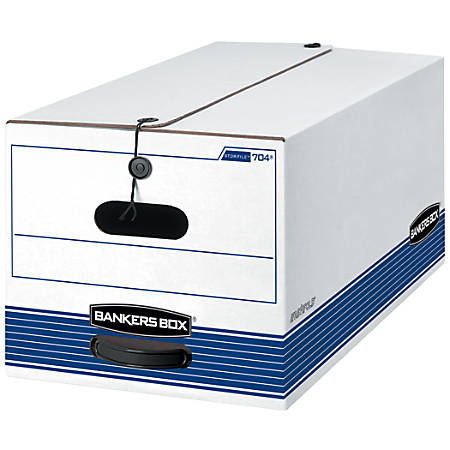 """Bankers Box® Stor/File™ 60% Recycled Storage Box, String & Button Closure, 24"""" x 12"""" x 10"""", Letter, White/Blue"""