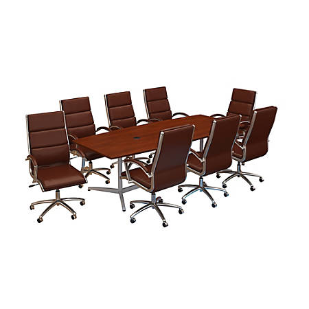 "Bush Business Furniture 96""W x 42""D Boat-Shaped Conference Table With Metal Base And Set Of 8 High-Back Office Chairs, Hansen Cherry, Premium Installation"